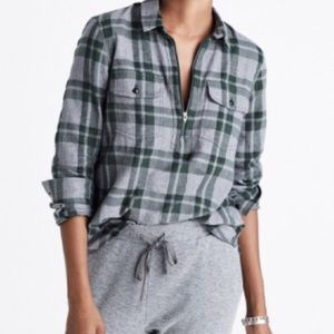 Madewell Flannel Zip-Front Popover Plaid Shirt