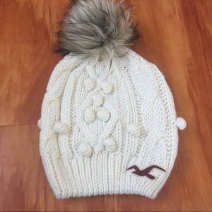 Hollister knit beanie with pom pom
