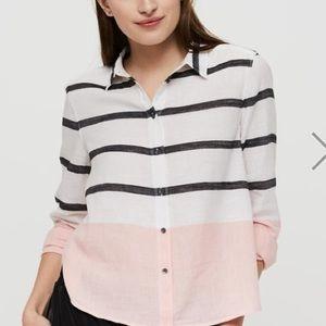 Lou & Grey Crop Pink Stripe Button Down