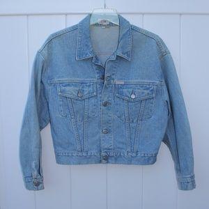 Guess Vintage Distressed Cropped Denim Jacket 90s