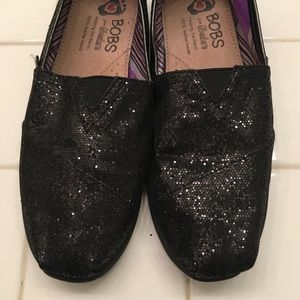 BOBS from Skechers sparkly black slip-on shoes.