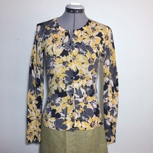 Loft Gray & Yellow Floral Button Front Cardigan