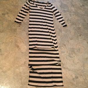 Soprano striped hi lo mini maxi dress tan black