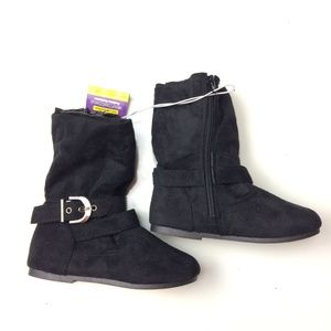 Other - Flat Black Boots with Belt Bucklet Around Ankle