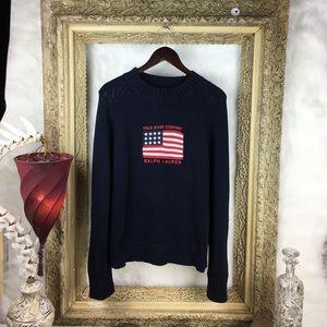 Vintage Ralph Lauren Polo Flag Cotton Knit Sweater