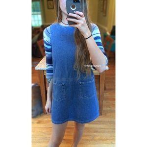 🌻 90's Vintage Petite Denim Pinafore Dress 🍂