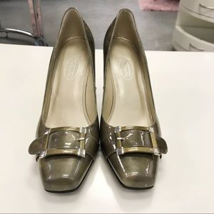 Talbots Olive Square Toe Buckle Heels