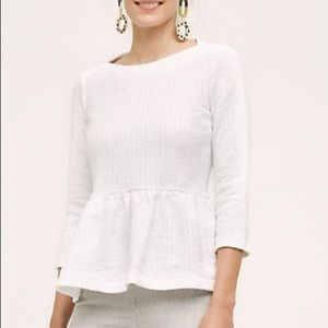 Amadi Anthropologie SP white peplum blouse