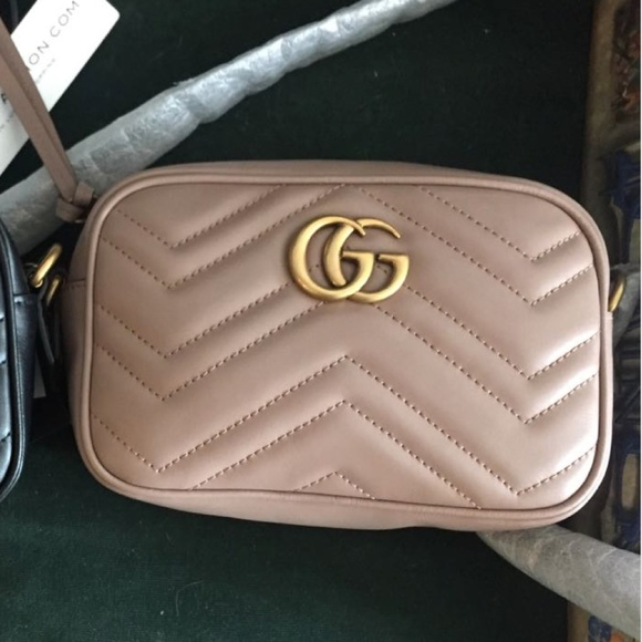 e5f56754c45 Brand New Gucci Mini GG Marmont Camera Bag in Nude