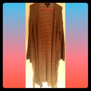 Forever 21 Long Fringed Cardigan L