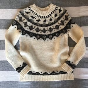 LOFT Festive Jeweled Fair Isle Ivory Sweater