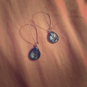 Beautiful aqua hoop hook back earrings