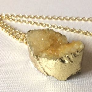 Golden Druzy Necklace On 24K Gold Rolo Chain