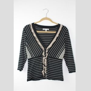 "CAbi #276 ""The Flirt"" Striped V-Neck Cardigan"