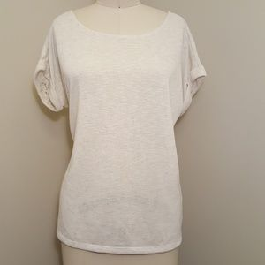Heathered cream color lace back top