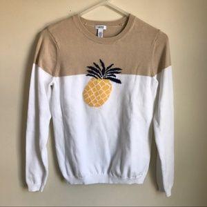 Izod women's XL preppy two tone pineapple sweater