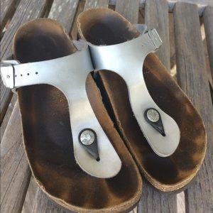 Birkenstock silver leather thong sandals