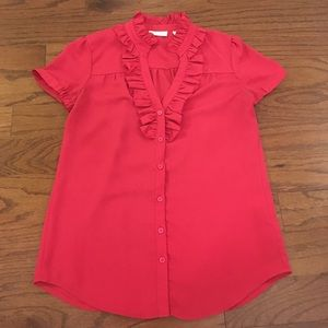 NY&Co. Berry Ruffled Dress Shirt XS