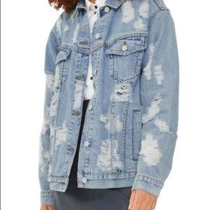 TOPSHOP distressed Moto Jean Jacket size 8