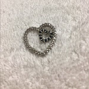Sapphire heart within a heart necklace charm