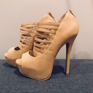 "Tan Caged Strappy 6.5"" Heels"