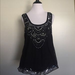 Nordstrom Brand Black Sequined Top - size M
