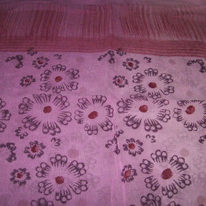"""Pink & Red Rectangle Shawl Hand Painted 21"""" x 62"""""""