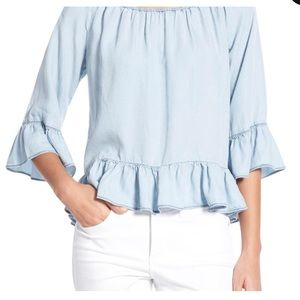 Sanctuary Off the Shoulder Chambray