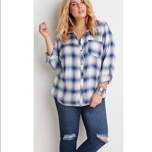Plus size forever 21 blue plaid flannel 3x