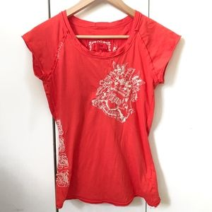 Johnny Was JW Los Angeles Embroidered Coral Tee XS