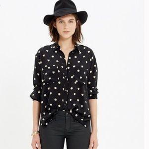 Madewell hearts and polka dots black shirt