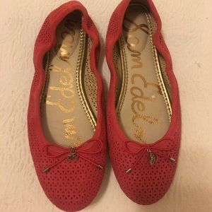 Sam Edelman red Perforated ballet flats