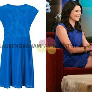 Ted Baker London Blue Saskiah Lace Pleated Dress