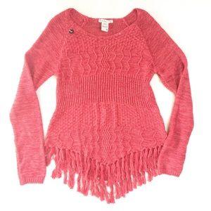 American Rag Fringed Handkerchief Hem Sweater Med