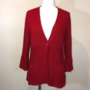 Tribal Red Single Button Front Cardigan