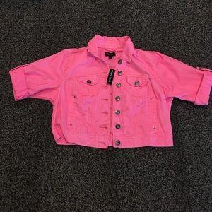 Brand New Crop Pink Denim Jacket!!!