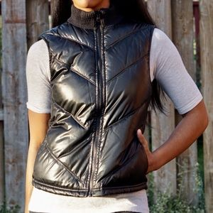 OLD NAVY Black Shiny Puffer Vest