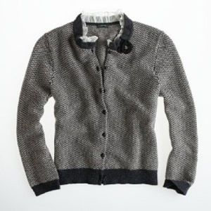 J. Crew Dream Ruffle Herringbone Cardigan
