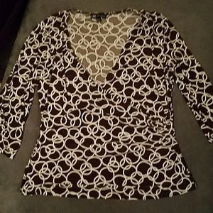 I.N. Studio Brown and White Blouse 3/4 Sleeves