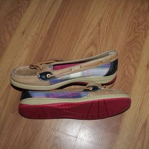 Pink plaid sequin sperry boat shoes