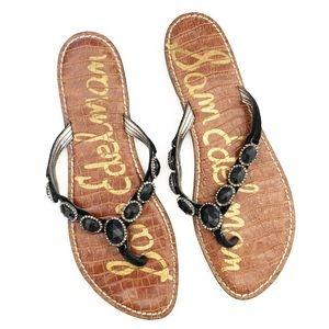 Sam Edelman Jeweled Leather Flip Flop Sandals