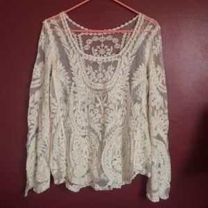 White Lace 70's-style blouse