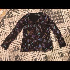 Beaded silk top size 6 Dana buchman