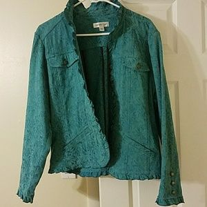 Coldwater Creek Large Turquoise Floral Jacket
