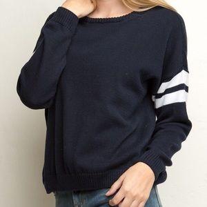Blue Striped Varsity Sweater