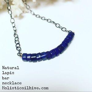Lapis gemstone bar necklace minimalism style
