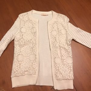 Cream Tory Burch Cardigan Knit