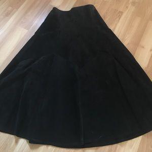 Pioneer wear black leather suede maxi skirt
