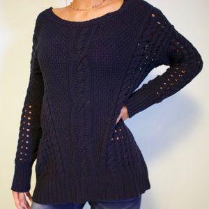 Dark Navy Sweater with hole details