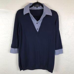St. John Black Label Wool Blue 3/4 Sleeve Blouse